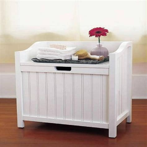 small bathroom storage bench