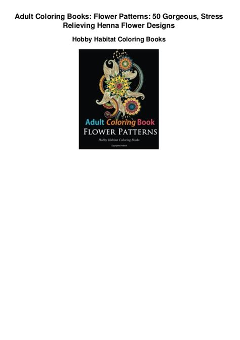 Adult Coloring Books Flower Patterns 50 Gorgeous Stress