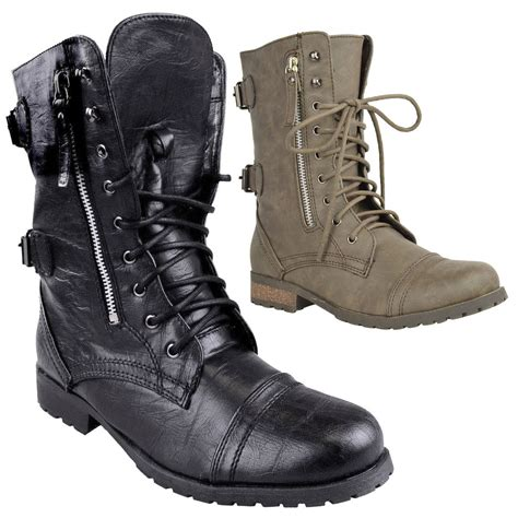 womens biker boot ladies womens combat army military worker lace up flat