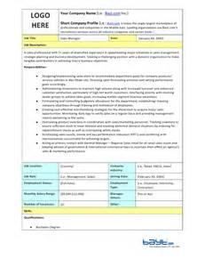 sles of descriptions templates sales manager description template by bayt