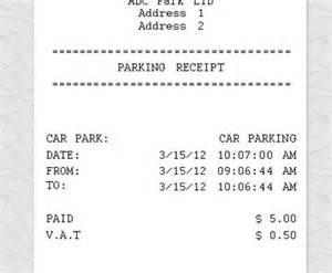 Parking Receipt Template Free by Parking Receipt