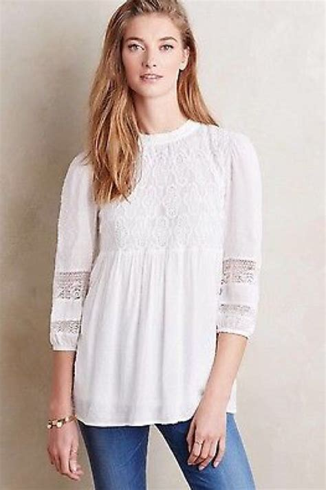 White Front Embriodery S M L Top 1 120005 nw hoss intropia anthropologie embroidered dolman sleeve sheer top m 40 what s it worth