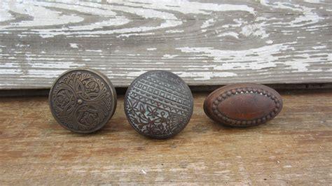 Antique Copper Door Knobs by 3 Antique Door Knobs Ornate Brass And Copper Door Handles