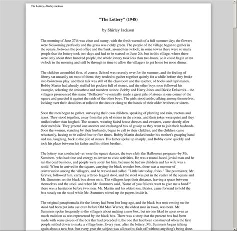 shirley synopsis the lottery pdf winning lotto numbers az