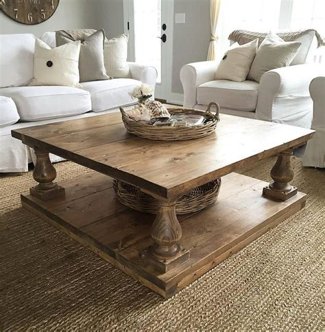 Plank Coffee Table Large Square Rustic Alder Baluster Wide Plank Coffee Table