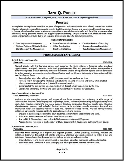 Paralegal Resumes by Paralegal Resume Sle The Resume Clinic