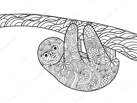 sloth an coloring book a coloring book for adults relaxation featuring floral designs mandalas and garden patterns for stress relief books perezoso para colorear libro de vectores adultos archivo