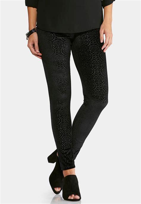 floral embossed patterned velvet leggings embossed velvet leggings leggings cato fashions