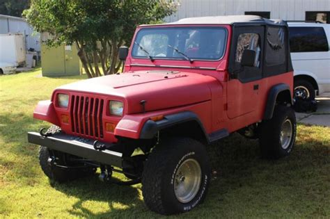 manual cars for sale 1992 jeep wrangler instrument cluster 1992 jeep wrangler manual trans w red bed liner and black trim 77221 mi