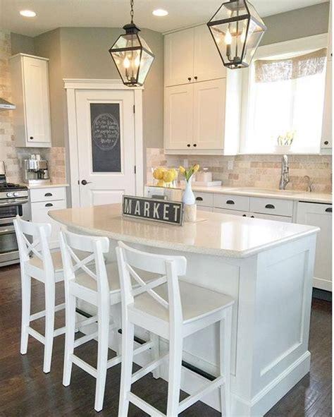 interior painting ideas on pinterest kitchen paint white transitional farmhouse kitchen with ikea stools