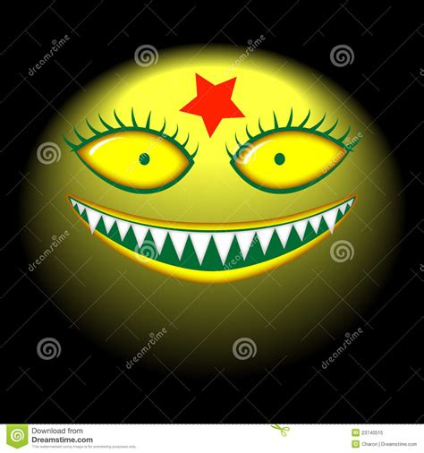 big head monster evil smile mask stock vector