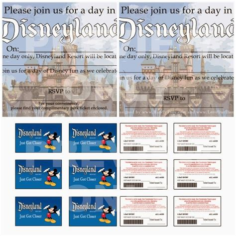 free printable birthday invitations that look like tickets free printable disneyland themed party invites and quot park