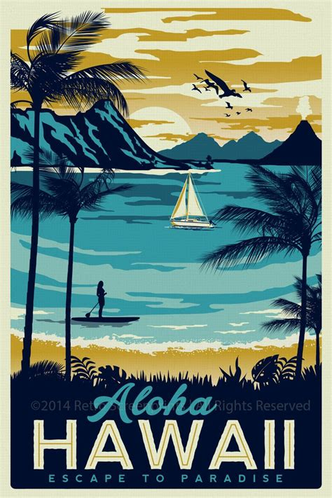 Vintage Classic Bruce Poster The Way Of The 42x30cm Hawaii Retro Vintage Travel Poster Surf Palm Trees Screen