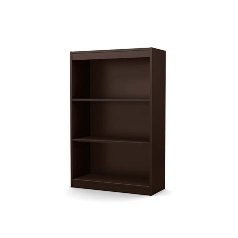 south shore freeport 3 shelf bookcase chocolate the home