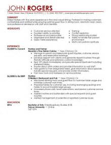 Hospital Hostess Sle Resume by Host Hostess Resume Sle My Resume