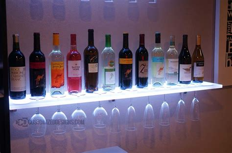 Wineglass Shelf by Floating Shelves W Wine Glass Rack Led Lighting Brackets
