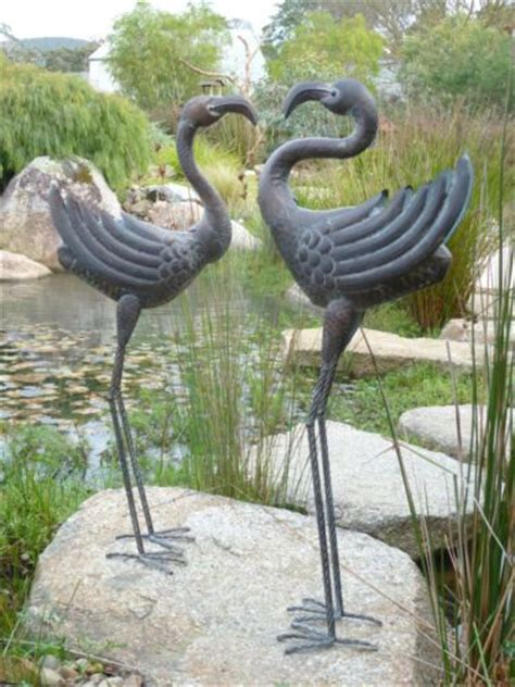 set of 2 pair of metal crane stork water bird garden pond