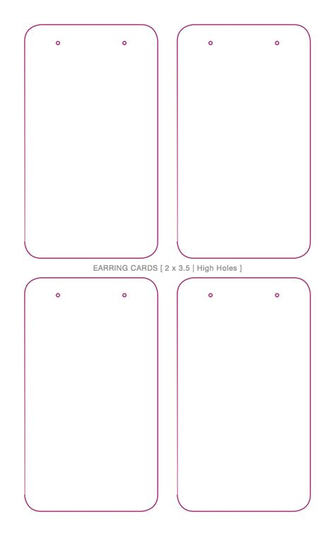 earring card template downloads judithbright rectangleearringcards 4up upperholes dieline