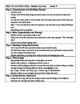 Shared Reading Lesson Plan The Little Yellow Chicken By Joy Cowley Level H Shared Reading Lesson Plan Template For Kindergarten