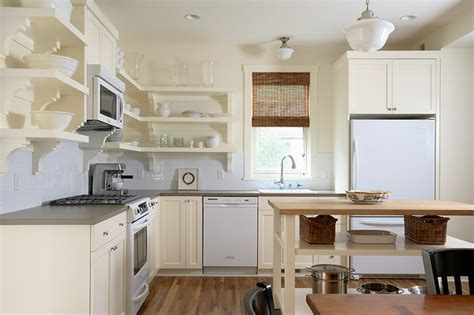 Quaint painted kitchen with open shelving traditional kitchen minneapolis by erotas