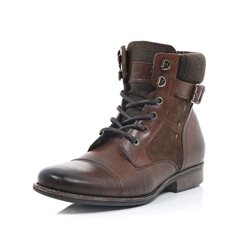 buckle boots river island brown leather buckle boots in brown for