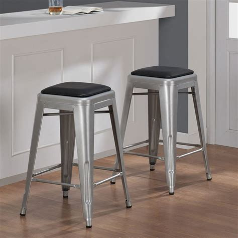 Overstock Counter Stools by Tabouret 24 Inch Padded Metal Counter Stool Set Of 2