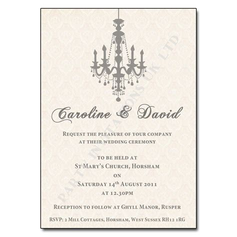 day wedding invites vintage chandelier wedding invitation ivory with silvery grey