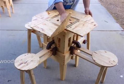clever portable wooden picnic table  unfolds  seconds