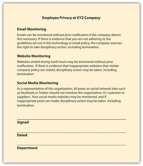 Employee Rights Employee Privacy Policy Template
