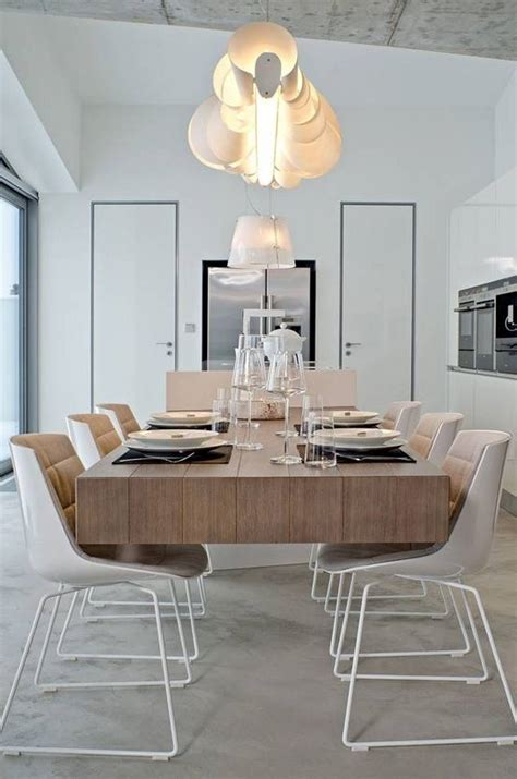 Unique Chandelier Above Tableware On Wood Table Closed Modern Lighting Fixtures For Dining Room