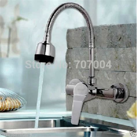 Wall Mounted Kitchen Faucet With Sprayer Wall Mounted Kitchen Dual Sprayer Faucet Chrome Hose Kitchen Mixer Taps In Kitchen
