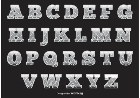 metal pattern font diamond plate alphabet download free vector art stock
