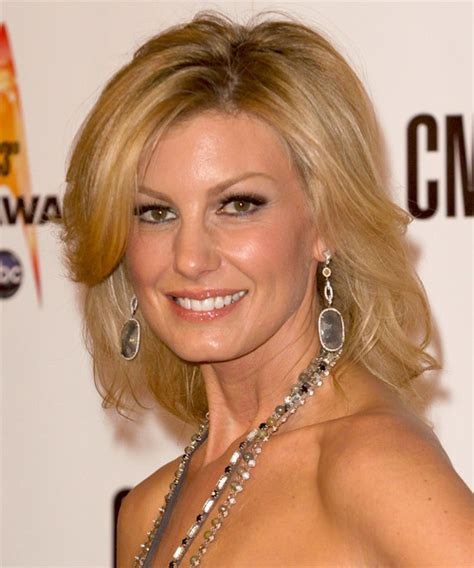 Faith Hill Medium Straight Formal Hairstyle with Side