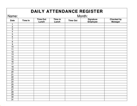 Daily Attendance Sheet Daily Attendance Register 1 Png Pay Stub Template Excel Pinterest Time And Attendance Templates Free