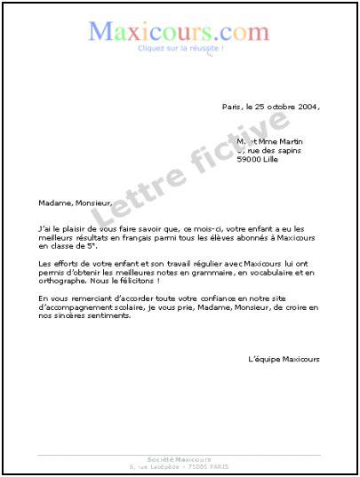 Exemple De La Lettre Formelle cours de ecrire une lettre maxicours