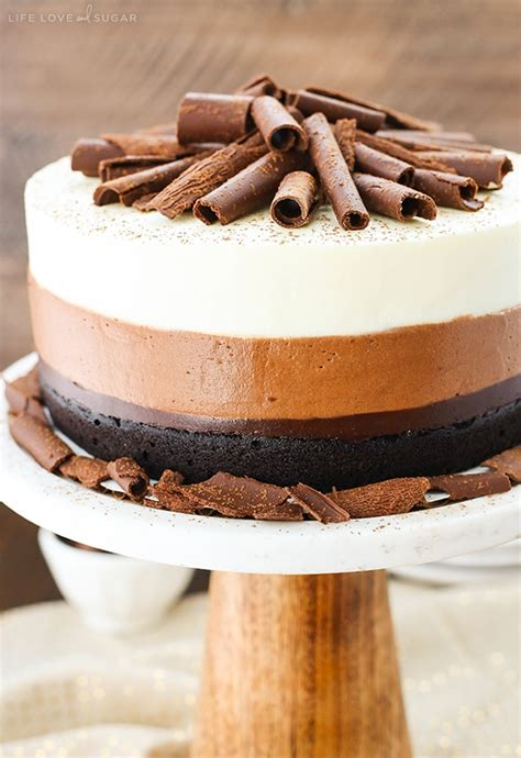chocolate mousse cake and sugar