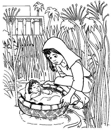 coloring pages baby moses basket baby moses floated on the river coloring pages
