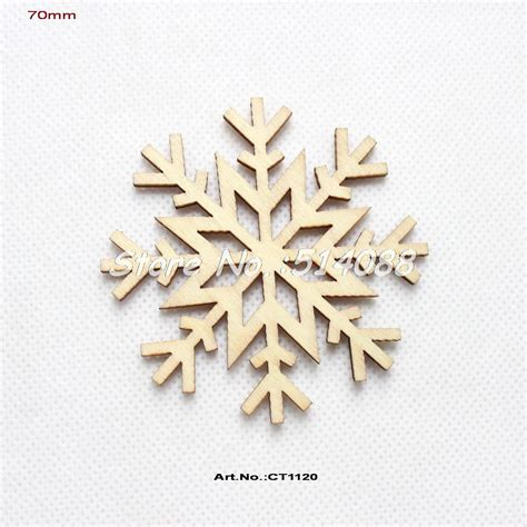 40pcs lot 70mm unfinished blank wood snowflakes