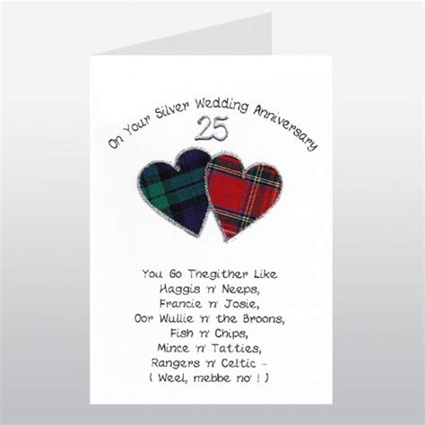 Wedding Anniversary Card Poems by Scottish Silver Wedding Anniversary Card Go Thegither Poem