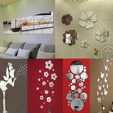home decor sticker removable mirror decal mural wall stickers home decor