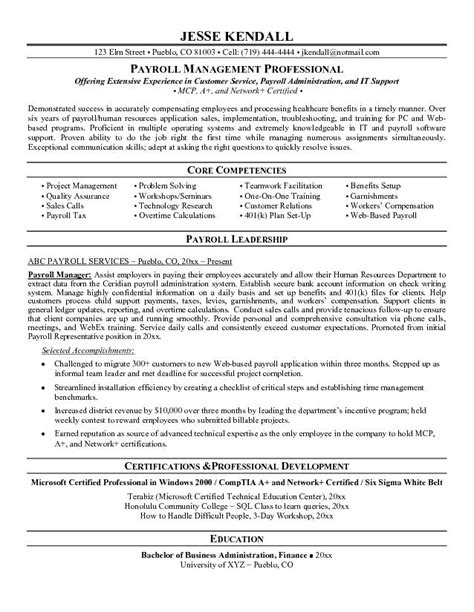 Payroll Officer Sle Resume by Exle Payroll Manager Resume Free Sle