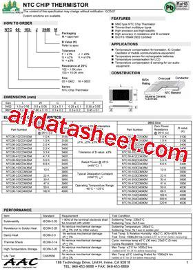 ntc thermistor sck 103 datasheet ntc5 103 f3950m datasheet pdf american accurate components inc