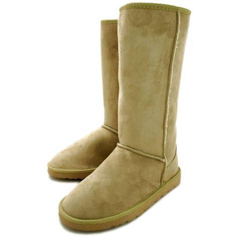 buy flat fur winter boots beige suede style