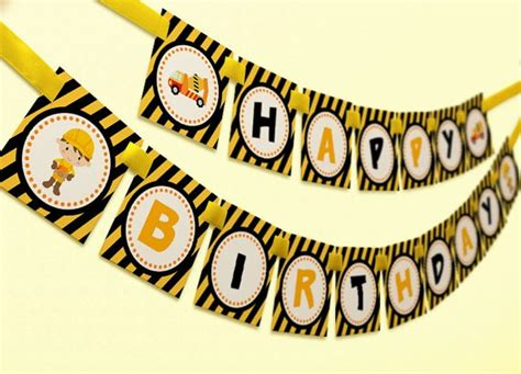 construction happy birthday banner printable construction birthday banner party ideas pinterest