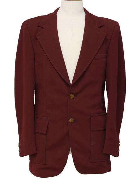 Jaket Blazer Maroon vintage garrison park 70 s jacket 70s garrison park mens maroon chevron textured weave with