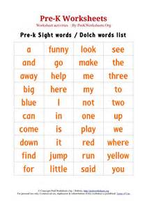 pre k sight words charts dolch words list pre k