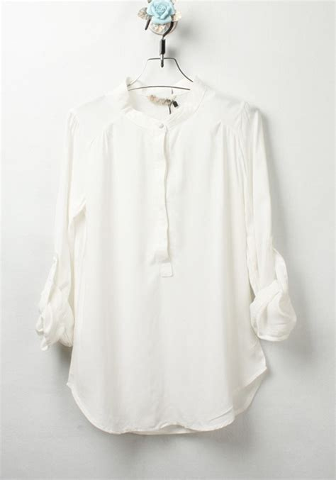 White Cotton Blouses For by White Plain Buttons Thin Cotton Blend Blouse Blouses Tops