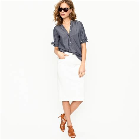 Pencil Skirt Hq j crew high waisted denim pencil skirt in sunwhite wash in white lyst