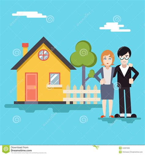 house 18 real estate retro happy family with house real estate modern stock