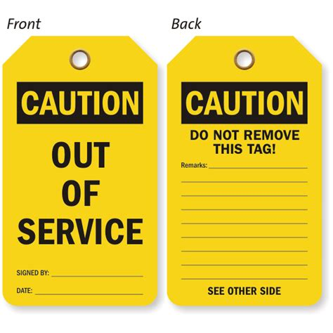service tags caution out of service both sided tag add details sku tg 0617